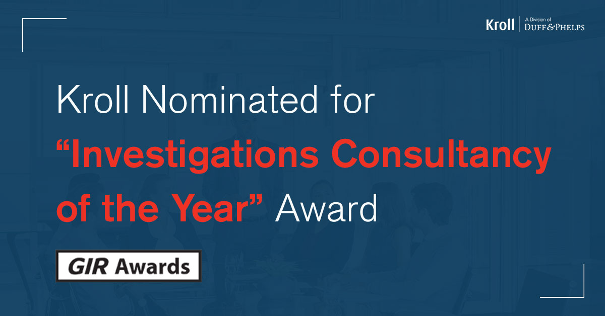 Kroll Nominated for GIR Investigations Consultancy Year Award