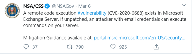 MS Exchange Critical Vulnerability CVE-2020-0688 Targeted by Multiple Actor Groups